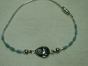 """...Sterling Silver Tube Beads,Turquoise Bear Claw Design Bracelet..7.5"""" long"""