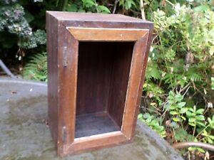 ANTIQUE  EMPTY GLAZED DOOR CABINET MICROSCOPE INSTRUMENT DISPLAY FOR RENOVATION