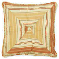 """Waverly Charleston Chirp Square Throw Pillow in Papaya 16""""x16"""" Button Tufted"""