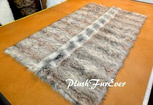 Rectangle Silver Wolverine Faux Fur Area Rug Lodge Cabin Furry Furs Rug