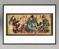 UTAGAWA KUNISADA (1786-1865) ANCIENNE ESTAMPE JAPONAISE TRYPTIQUE (4)