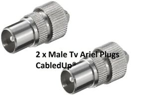 2  MALE TV COAX ARIEL CONNECTOR PLUGS TV AERIAL FOR CABLE LEAD