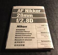 Nikon AF Nikkor 28mm f/2.8D Lens - User Instruction Manual (English)