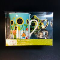 Debbie Mumm Mug Boxed Set Sunflowers Coffee Tea Cup Infuser & Caddy NIB Vtg*