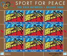 ROMERO BRITTO 'Sport for Peace' 2008 Stamp Sheet Olympics Bijing, China 94¢ NEW!