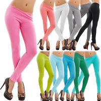 Leggings leggins pantaloni donna COTONE tinta unita sport aderenti nuovi F9072
