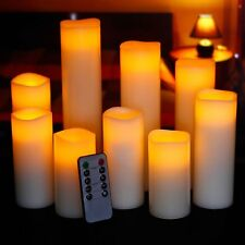 9 Flameless Pillar Flickering Led Candle With Remote Timer Set Of 9, Romantic