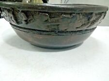 ANTIQUE OLD PRIMITIVE SOLID WOODEN SALAD BOWL WITH BEAUTIFUL HAND CARVING