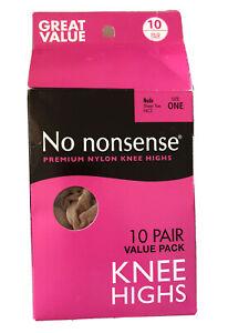 No Nonsense Nylon Knee Highs 10 Pair Comfort Nude One Size