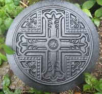 "Cross round tile mold plaster rapid set cement all mold mould 12"" x 1/3"" thick"