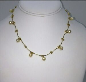 VINTAGE BRUSHED GOLD TONE SIMULATED PEARL NECKLACE / CHOKER