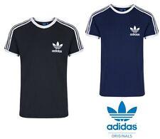 adidas Originals Mens Retro Sports T-Shirt Navy Black Vintage Tee Top S,M,L,XL