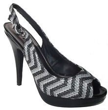 New Black gray high heel mini Platform Slingback zig zag Peep toe Sandal Size 7