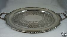 """Antique Silver Plate Wickford Butler'S Serving 26"""" Tray Oval Handled Etched"""