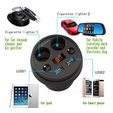 2 USB Ports Dual Cigarette Lighter Plugs Car Charger Outlets For Smart Phone DVR