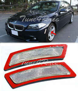 For 12-Up BMW F10 5-Series CLEAR Side Bumper Reflector Lights M Sport Package