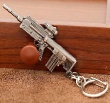 SILVER MACHINE GUN PISTOL BOX KEYRING KEY CHAIN RIFLE RING REVOLVER UZI UK