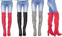 Womens Long Over The Knee Boots Front Zip Up Block High Heel Thigh High Boot UK