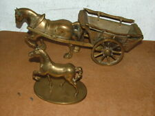 2X Solid Brass Large Horse Statue / Figurine And Cart Ornament And Horse 5.5kg