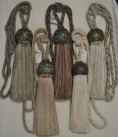 """Curtain & Chair Tie Back -30""""spread with 10""""tassel w/ 2 1/2"""" metal ball"""