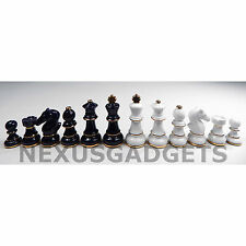 DARK BLUE & WHITE w GOLD PORCELAIN Chess Pieces 3.5 IN KING Game Set NO BOARD