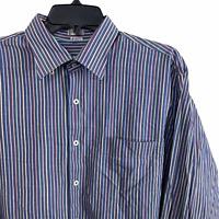 PETER MILLAR Men's Large Striped Long Sleeve Button Front Dress Shirt