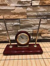 Howard Miller 613-588 Rosewood Desk Set - Alarm Clock with Pen Set