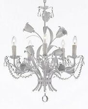 Floral ITALY TOLE crystal prisms beads 5 light White finish Chandelier PLUG OPT
