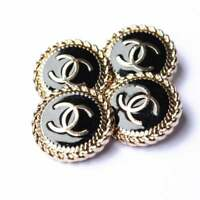 STAMPED RARE One 4 pieces Chanel button 21  mm 1 inch gold & black