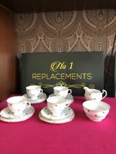 4 Place Setting Colclough China Pink Stars Cups Saucers Plates Trios Jug Sugar
