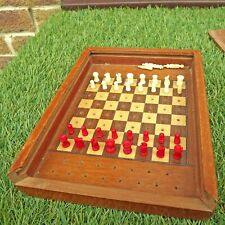 Pocket Chess Set / Bovine Bone - Handmade Box - Army Used - Replaced Pawn etc