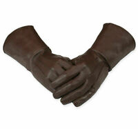 Men's Medieval Renaissance Gauntlet cosplay Leather Gloves Long Arm Cuff (Brown)