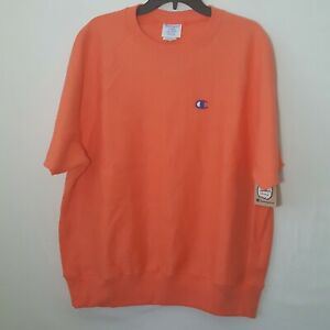 Champion Mens Reverse Weave Crewneck Short Sleeve Sweatshirt Coral L NWT