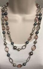 "Premier Designs Jewelry NEWPORT Necklace 20071 Silver Pink Gray Glass 48"" Box"