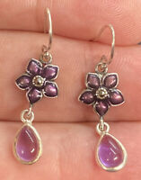 Vintage Sterling Silver 925 Marcasite Floral Dangle Drop Glass Hook Earrings