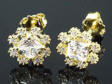 585 Gold  Ohrstecker  8,3 mm Größe 1 Paar mit  18 Zirkonia Steinen