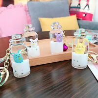 Moving quicksand keychain cute Floating mouse rat keychains Creative Ba@