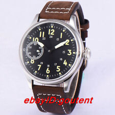 44mm black sterile dial luminous 6497 hand winding movement mens casual watch