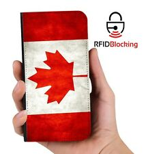 RFID Protected Canadian Flag PU Leather Phone Wallet Case for Samsung Galaxy