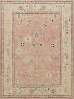 Vegetable Dye Geometric Authentic Oushak Turkish Area Rug Hand-knotted Wool 8x9