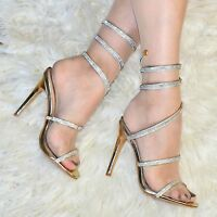 Womens High Stiletto Sandals Slingback Sparkly Shoe Ladies Gladiator Ankle Strap
