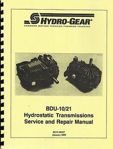Hydro Gear BDU-10/21 Hydrostatic Transmission Service/Repair Manual