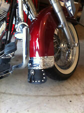 Double Leather Front Fender Flap, Universal Fit, Harley Davidson, STUDS & CONCHO