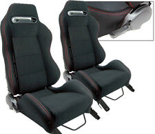 2 X BLACK CLOTH + RED STITCHING RACING SEATS FIT FOR SUBARU