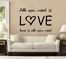 "31"" All You Need Is Love All You Need Wall Decal Sticker The Beatles Music Decor"