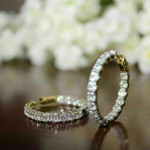 2.00CT White Round Cut Moissanite Women Huggie Hoop Earrings in 14K Yellow Gold