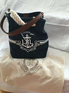ralph lauren nautical bucket bag, denim exterior, rope closure, leather strap