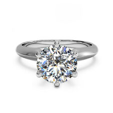Round Cut 2.00 Ct Diamond Engagement Ring 14K Solid White Gold Rings Size 7 6.5