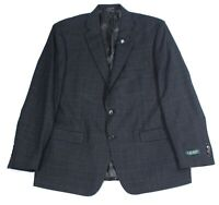 Lauren by Ralph Lauren Mens Sport Coat Black Size 44 Long Plaid Blazer $375 240