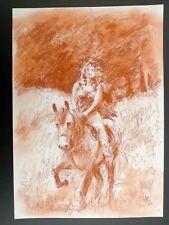 DOYEN sanguine A4 n° 7 femme à cheval